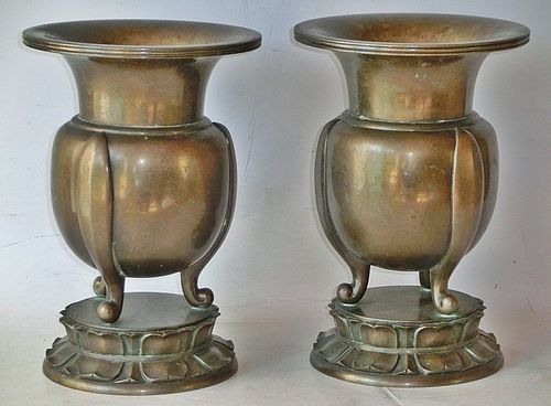 Antique Japanese Bronze Pair Buddhist Temple Flower Vases