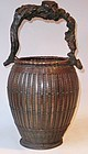 Antique Japanese Bamboo Ikebana  Flower Basket C.1920
