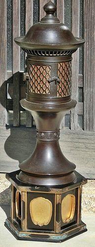 Antique Japanese Bronze Zen Buddhist Temple Altar Lantern