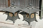 Antique Japanese Pair Large Bronze Hanging Lanterns Dated C.1932