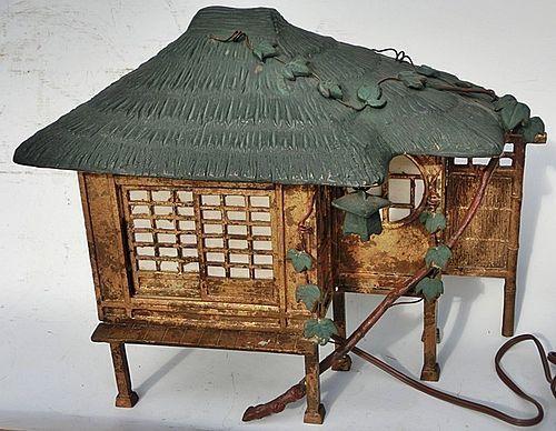 Antique Japanese Metal Tea Hut Lamp