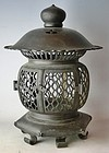 Antique Japanese Zen Buddhist Temple Bronze Lamp C.1910
