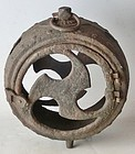 Antique Japanese Taisho  Period C.1915 Shinto Shrine Iron Lantern