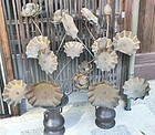 Antique Japanese Set Of Buddhist Temple Altar Copper Lotus Flowers