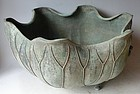Antique Japanese Bronze Zen Temple Lotus Water Basin, C.1915