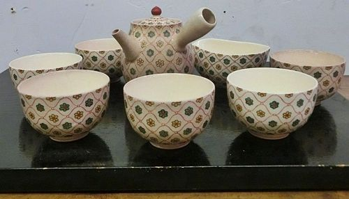 Antique Japanese Kyoto Ceramic Sencha Set