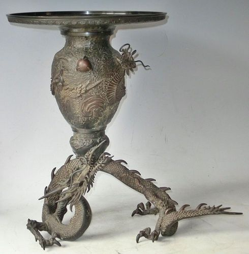 Antique Japanese Taisho Period 1926 Bronze Dragon Incense Burner/Vase
