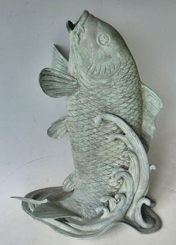 Antique Japanese Bronze Carp Water Spout C.1920