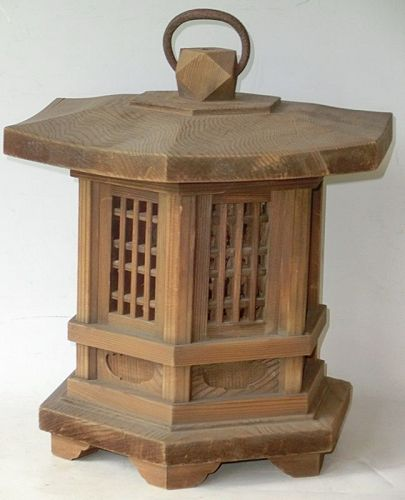 Antique Japanese C.1935 Wood Andon Lantern