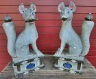 Antique Japanese Pair Inari Shrine Foxes C.1915