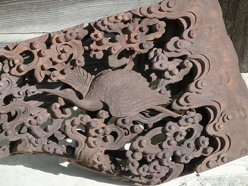 Antique Japanese Buddhist Altar Transom Carving