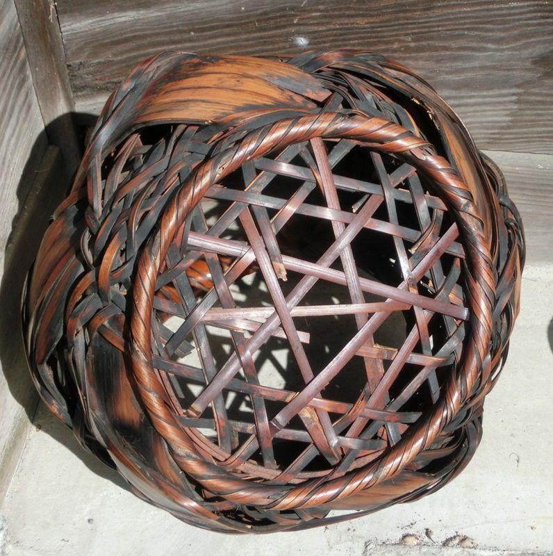 Antique Japanese Wagumi Bamboo Flower Basket C.1935