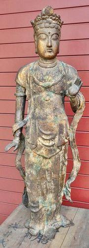 Antique Japanese Bronze Bodhisattva Statue, C.1935