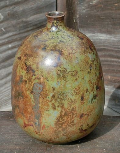 Antique Japanese Bronze Murashido Flower Vase Signed Keiten