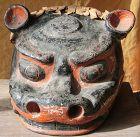 Antique Japanese Shishimai Shrine Mask; Ceramic C.1880