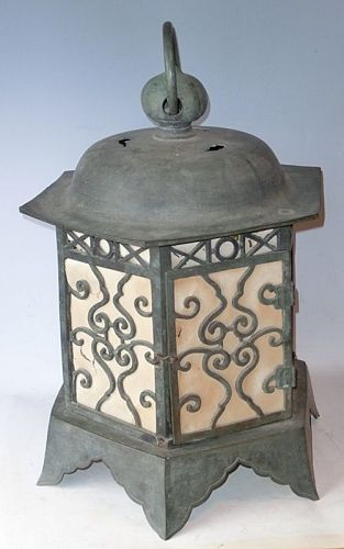 Antique Japanese Bronze Huge Lantern C. 1925