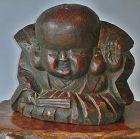Antique  Japanese Wood Zelkova Carved Fukutsuke Statue
