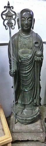 Antique Japanese Lifesize Bronze Jizo Bodhisattva
