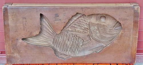 Antique Japanese Large Wood Sweets Shop Mold