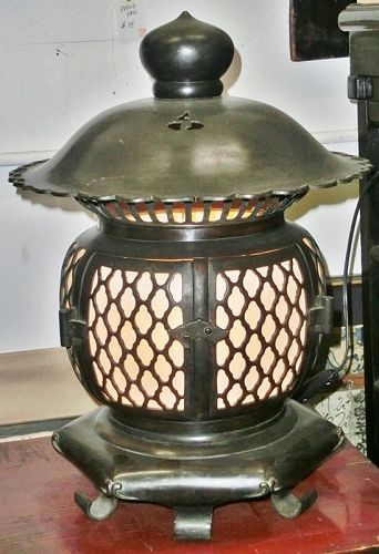 Antique Japanese Zen Buddhist Temple Bronze Lamp