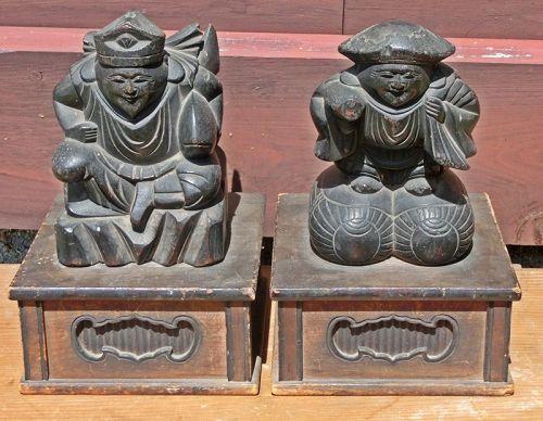 Antique Japanese Mingei Pair Daikoku/Ebisu Kami C.1910