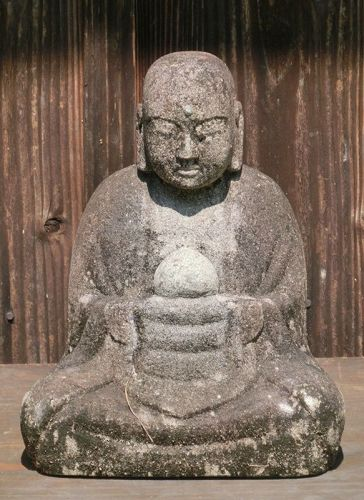 Antique Japanese Granite Sitting Jizo Buddha C. 1820