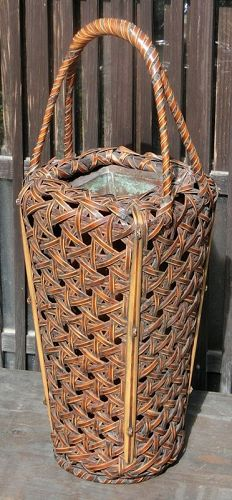 Antique Japanese Bamboo Flower Basket c. 1930