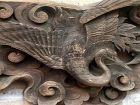 Antique Japanese Buddhist Temple Wood Crane Carving, C. 1890