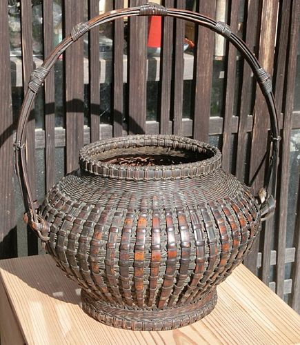 Antique Japanese Bamboo Flower Basket w/Original Box