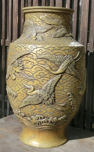 Antique Japanese Bronze Vase  Late Meiji Period C.1910