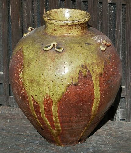 Antique Japanese Shigaraki Tea Leaf Storage Jar C.1920