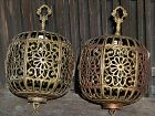 Antique Japanese Shinto Shrine Pair Brass Hanging Lamps