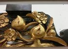 Antique Japanese Buddhist Temple Gold Gilt Peach Carving