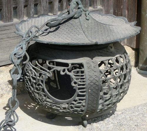 Antique Japanese Bronze Hanging Lantern