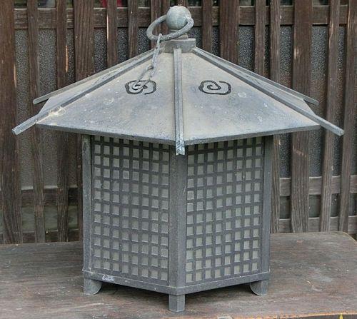Antique Japanese Bronze Buddhist Temple Lantern C.1950