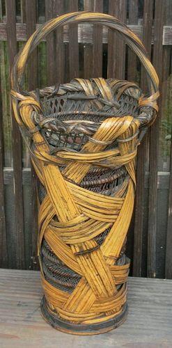 Antique Japanese Signed Chikuami Bamboo Flower Basket w/Original Box