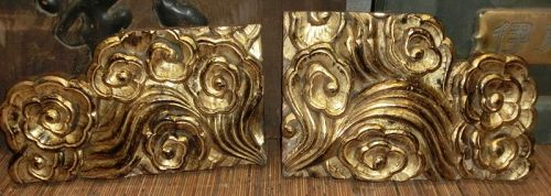 Antique Japanese  Temple Gold Gilt Buddhist Cloud Carvings