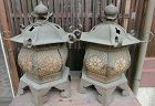 Antique Japanese Pair Brass Shrine Temple Lanterns C.1920