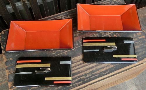 Antique Japanese Art Deco  Lacquered Wood Serving Trays