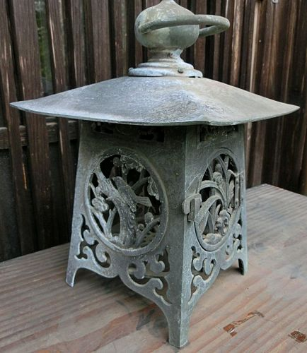 Antique Japanese Bronze Hanging Lantern C. 1925