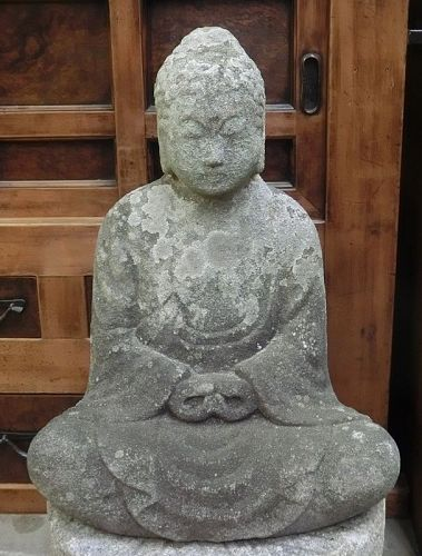Antique Japanese Large Granite Buddha Jizo C.1820