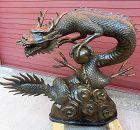 Antique Japanese Bronze Temple Dragon Water Spout