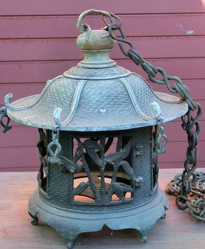 Antique Japanese Hanging Bronze Lantern
