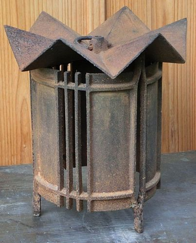 Antique Japanese Art Deco Iron Hanging Lantern