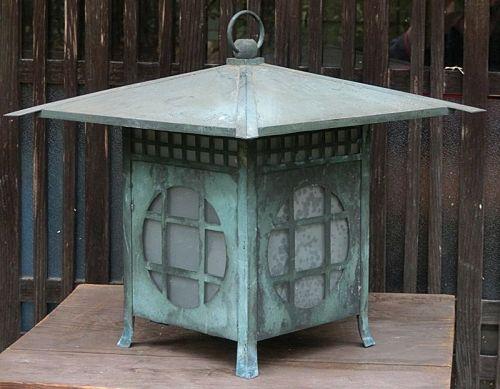 Antique Japanese Showa Period Bronze Lantern C.1935