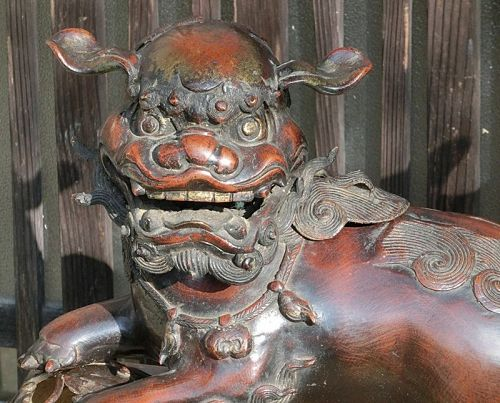 Antique Japanese Bronze Shishi Fu-dog Incense Burner