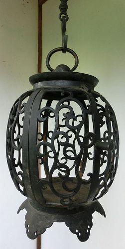 Antique Japanese Bronze Buddhist Temple Hanging Lantern C.1920