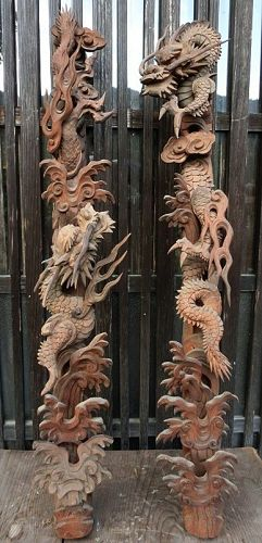 Antique Japanese Wood Dragon Altar Carvings
