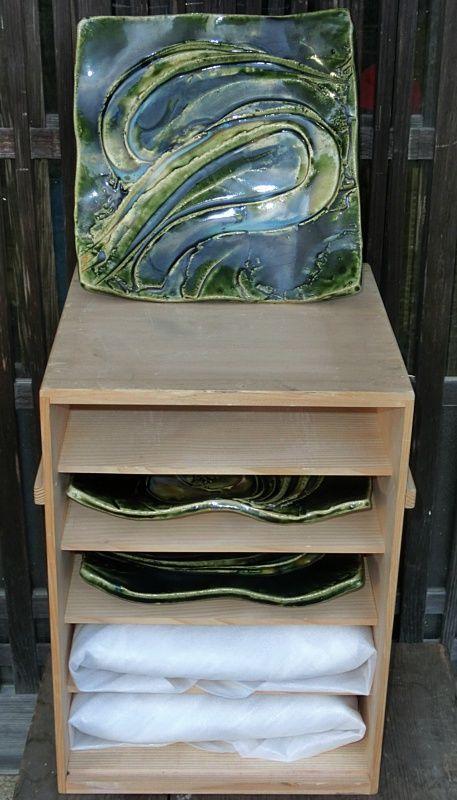 Antique Japanese Set of 5 Large  Oribe Platters/Plates