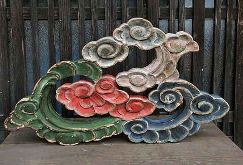 Antique Japanese Shinto Shrine Wood Carving C.1890
